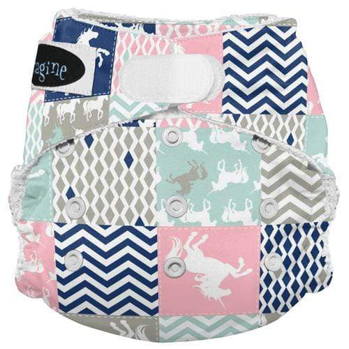 Imagine One Size Hook and Loop Bamboo All in One Diaper - Unicorn Dreams