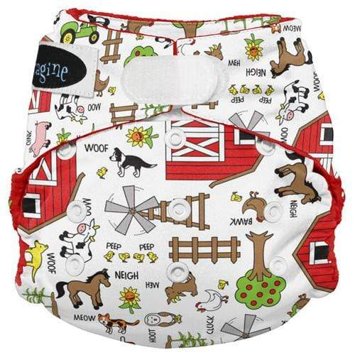 Imagine One Size Hook and Loop Stay Dry All in One Diaper - Barnyard Jam