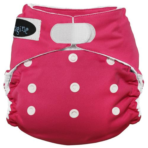 Imagine One Size Hook and Loop Stay Dry All in One Diaper - Raspberry