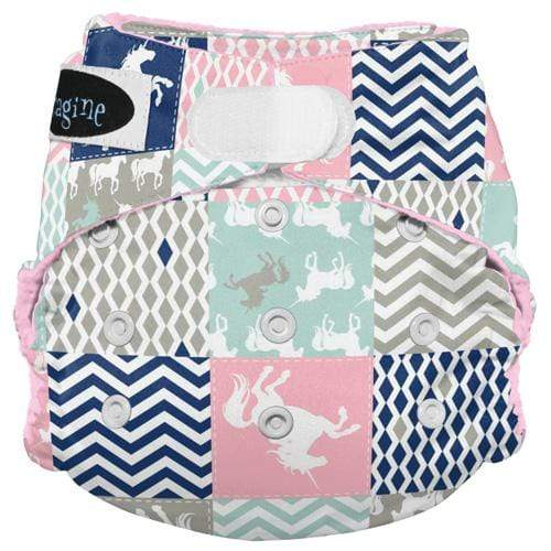 Imagine One Size Hook and Loop Stay Dry All in One Diaper - Unicorn Dreams