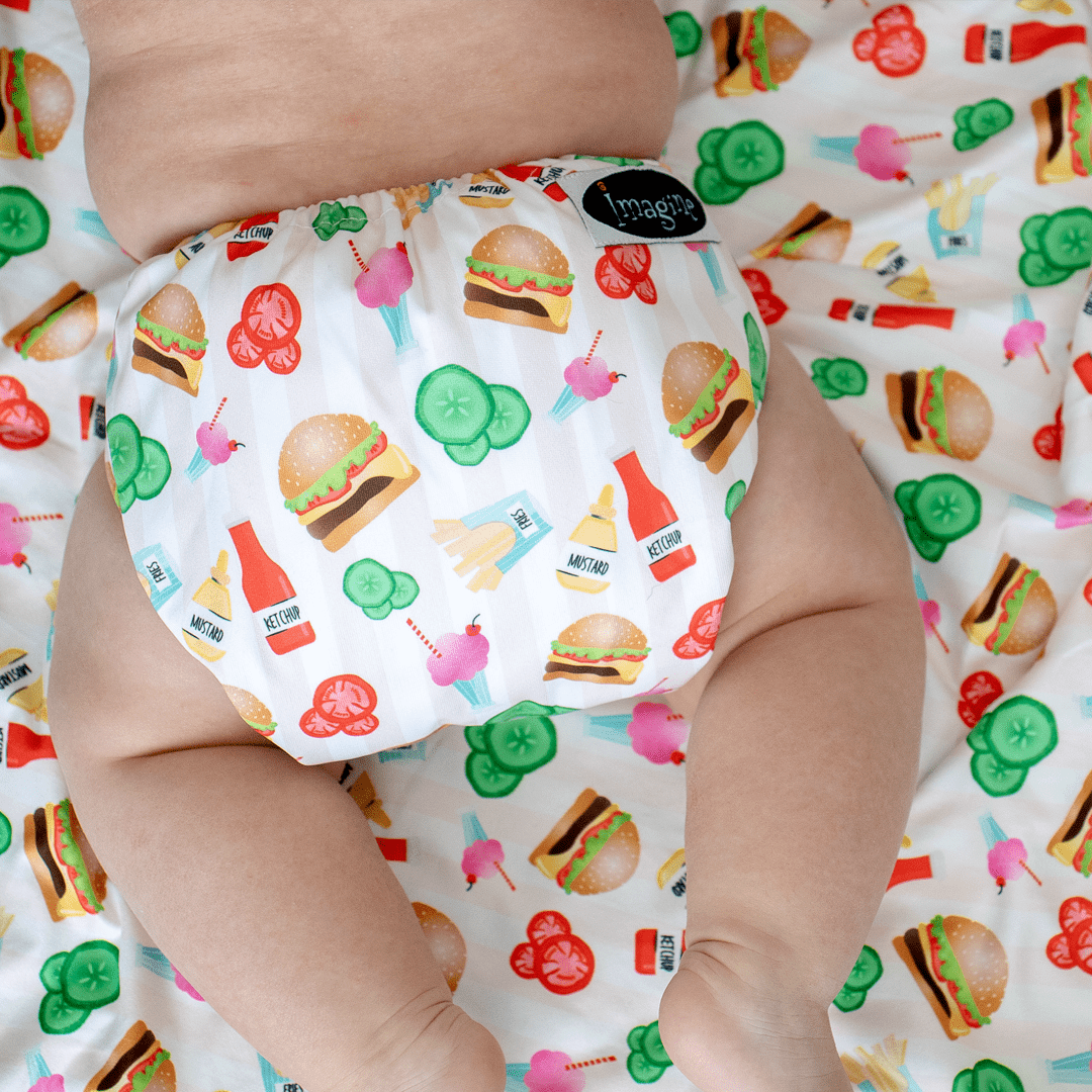 Imagine One Size Hook & Loop Pocket Diaper - Dine n' Dash
