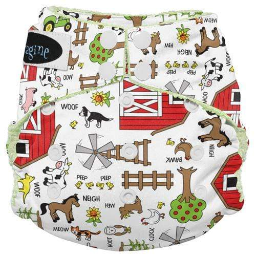 Imagine One Size Snap Bamboo All in One Diaper - Barnyard Jam