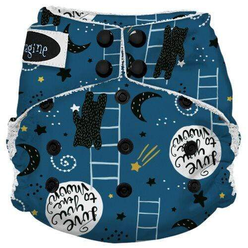 Imagine One Size Snap Bamboo All in One Diaper - To the Moon