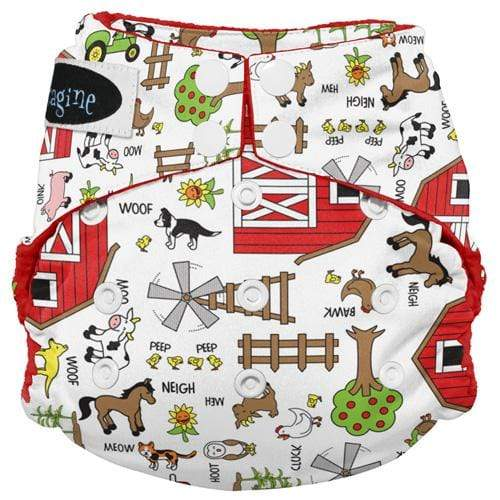 Imagine One Size Snap Stay Dry All in One Diaper - Barnyard Jam