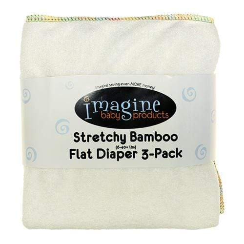 Imagine Stretchy Bamboo Flat Diapers - 3 Pack - Natural