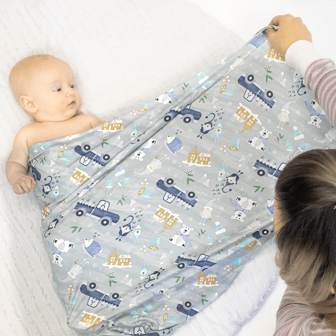 Imagine Stretchy Swaddle Blanket - Gnome is Where the Heart is