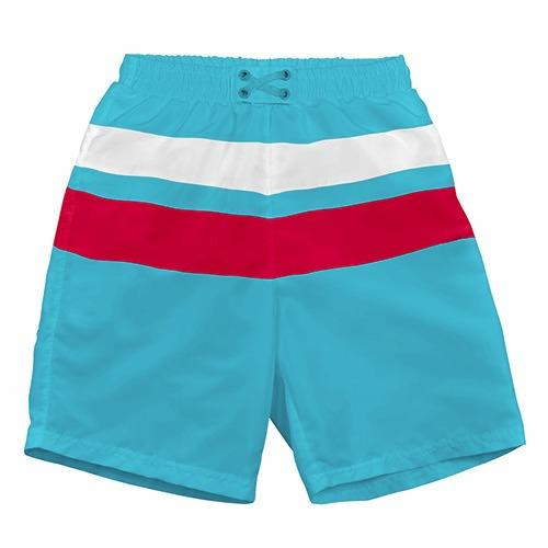 iPlay Pocket Board Shorts with Built-in Reusable Swim Diaper - Aqua/Red/White Block S