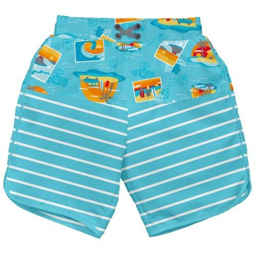 iPlay Pocket Board Shorts with Built-in Reusable Swim Diaper - Aqua Surf Sunset