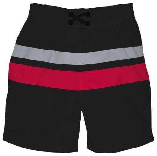 iPlay Pocket Board Shorts with Built-in Reusable Swim Diaper - Black/Red Block M