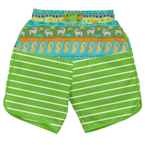 iPlay Pocket Board Shorts with Built-in Reusable Swim Diaper - Green Safari S