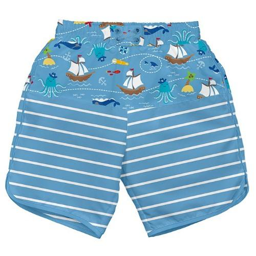 iPlay Pocket Board Shorts with Built-in Reusable Swim Diaper - Light Blue Pirate Ship S