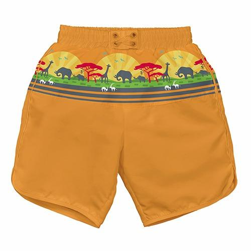 iPlay Pocket Board Shorts with Built-in Reusable Swim Diaper - Orange Safari S
