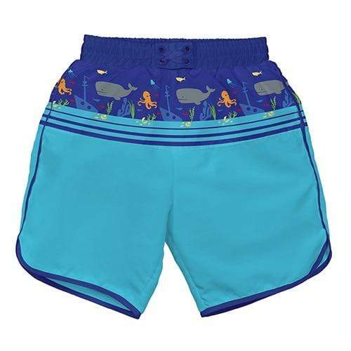 iPlay Pocket Board Shorts with Built-in Reusable Swim Diaper - Royal Shipwreck S