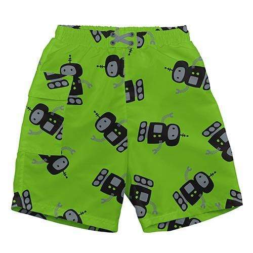iPlay Pocket Trunks with Built-in Reusable Swim Diaper - Lime Robot S