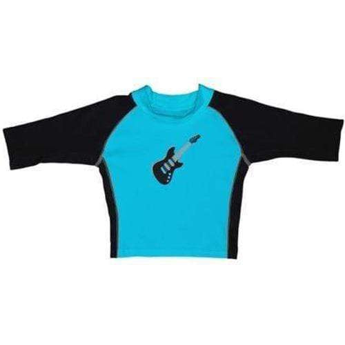 iPlay Three-Quarter Sleeve Rashguard Shirt - Mod Aqua Guitar