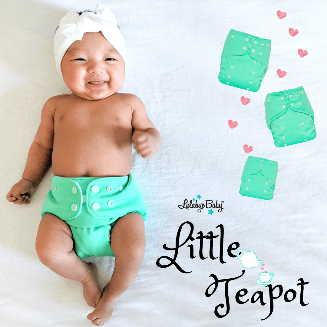 Lalabye Baby Newborn All In Two Cloth Pocket Diaper - Little Teapot Newborn