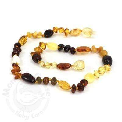 Momma Goose Baltic Amber Teething Necklace - Olive & Baroque