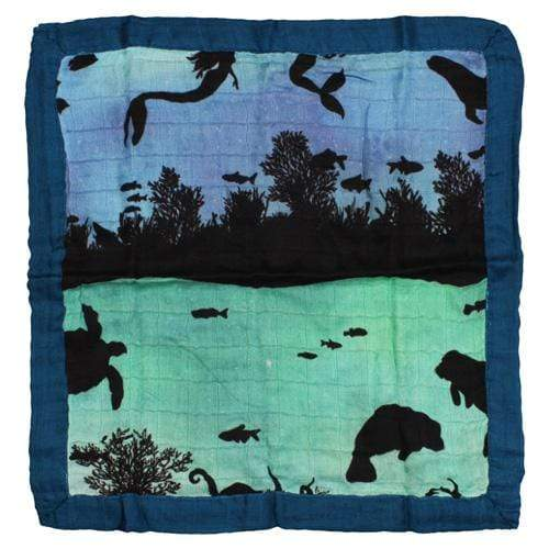 Nicki's Diapers Bamboo Security Blanket - Underwater World - Lagoon Trim