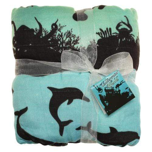Nicki's Diapers Bamboo Snuggle Blanket - Underwater World - Lagoon Trim