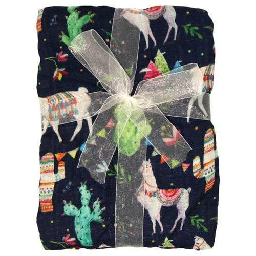 Nicki's Diapers Bamboo Throw Blanket - Llama Party