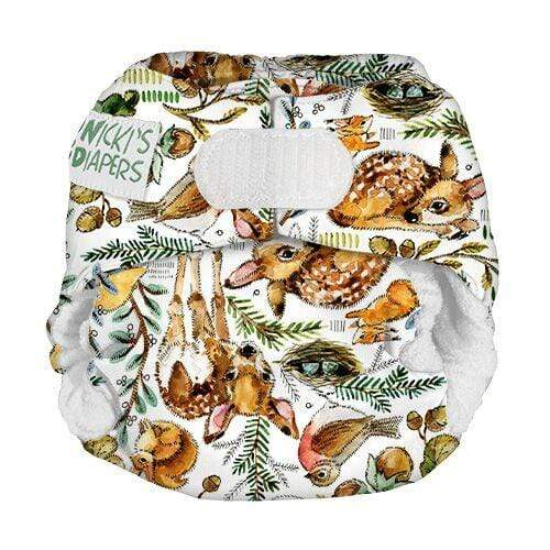 Nicki's Diapers Newborn Hook and Loop Bamboo All in One - Wildwood Newborn