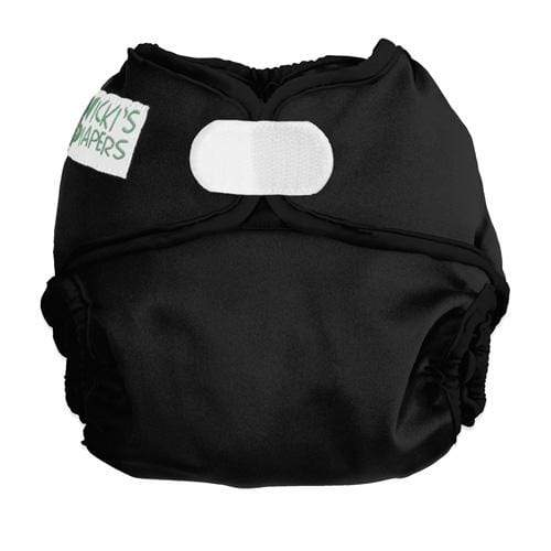 Nicki's Diapers Newborn Hook and Loop Diaper Cover - Black Licorice Newborn