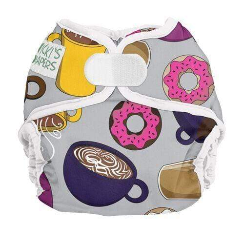 Nicki's Diapers Newborn Hook and Loop Diaper Cover - But Coffee First - White Trim