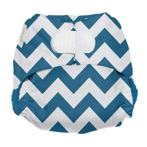 Nicki's Diapers Newborn Hook and Loop Ultimate All in One - Blue Razz Chevron Newborn