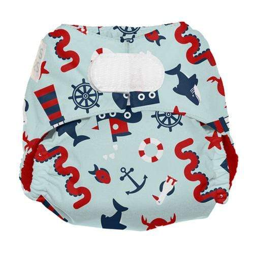 Nicki's Diapers Newborn Hook and Loop Ultimate All in One - Nautical Nessie Newborn