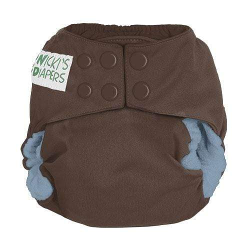 Nicki's Diapers Newborn Snap Bamboo All in One - Choco Blueberry Newborn