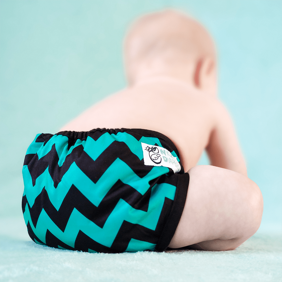 Nicki's Diapers Newborn Snap Bamboo All in One - Jade Chevron