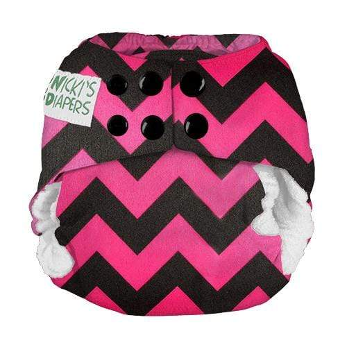 Nicki's Diapers Newborn Snap Bamboo All in One - Poppin Pink Chevron