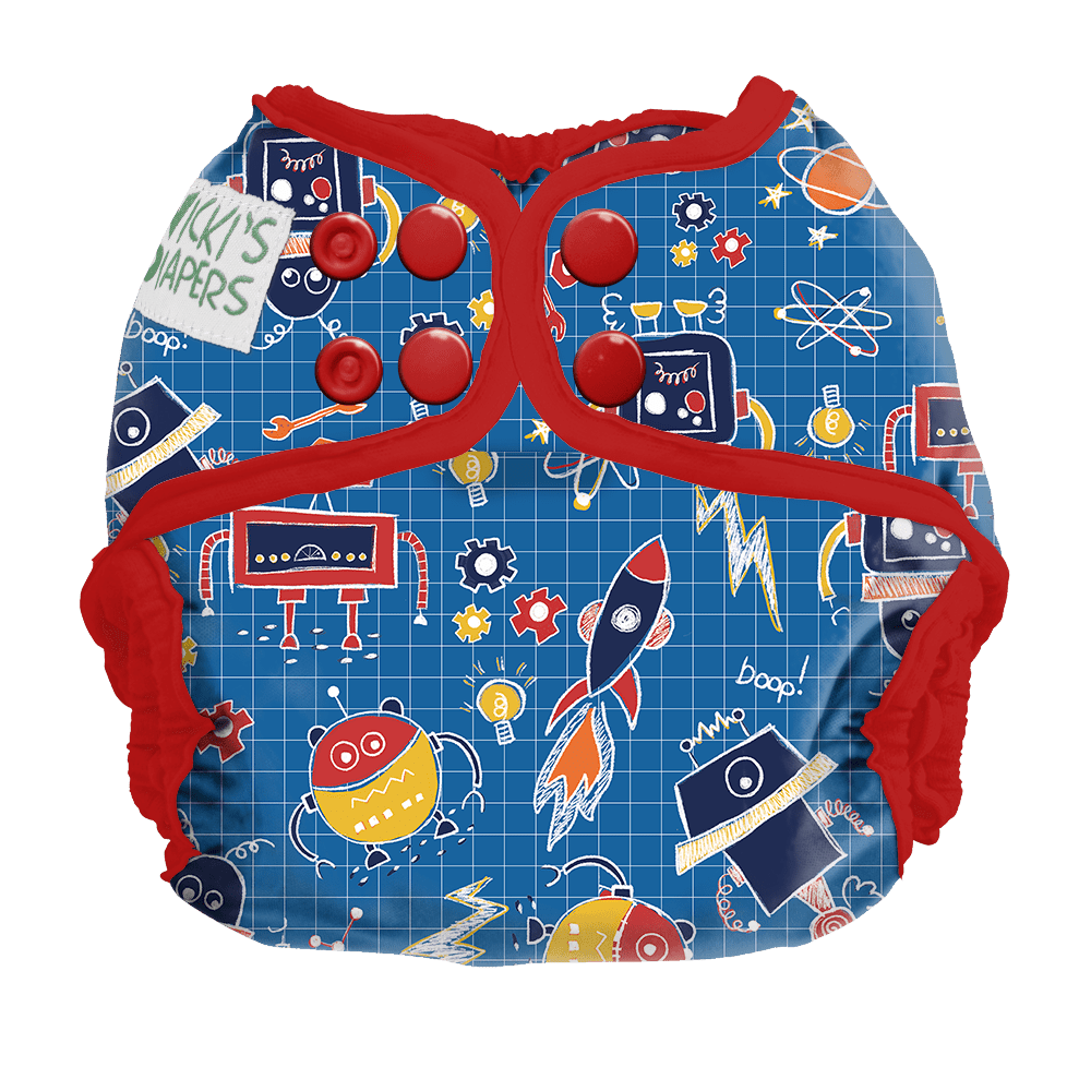 Nicki's Diapers Newborn Snap Diaper Cover - Beep Bop Boop