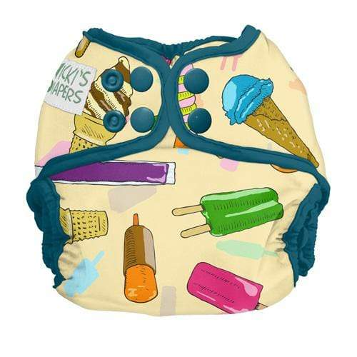 Nicki's Diapers Newborn Snap Diaper Cover - Brain Freeze - Razz