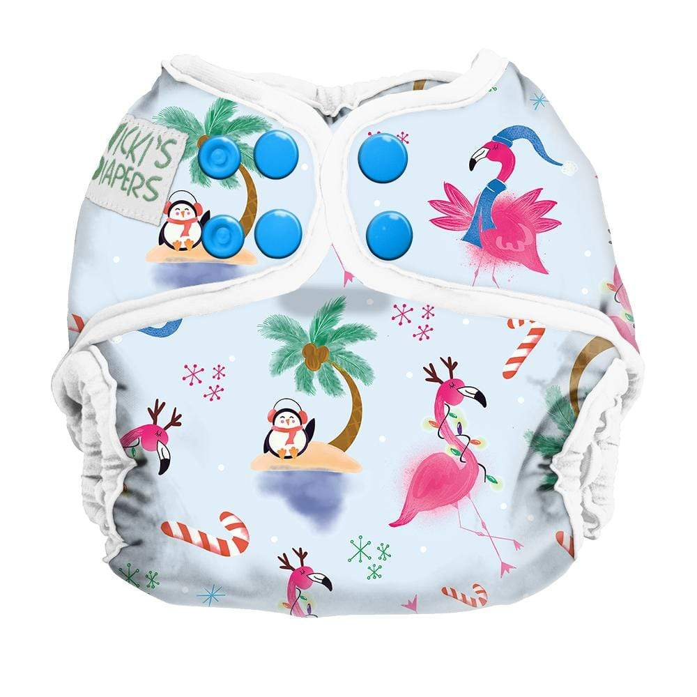 Nicki's Diapers Newborn Snap Diaper Cover - Jingle and Flamingle