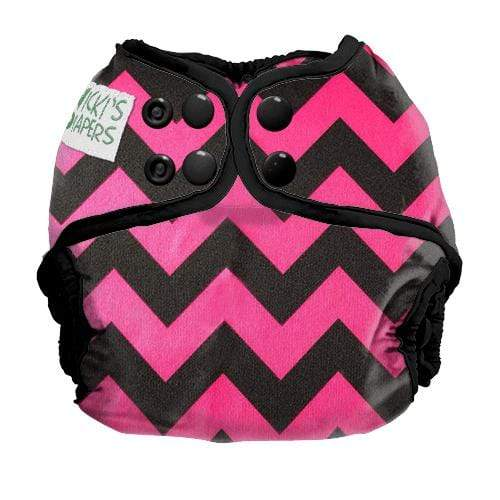 Nicki's Diapers Newborn Snap Diaper Cover - Poppin Pink Chevron