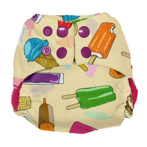 Nicki's Diapers Newborn Snap Ultimate All in One - Brain Freeze - Strawberry