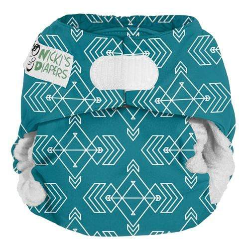 Nicki's Diapers One Size Hook and Loop Bamboo All in One - Compass Lagoon