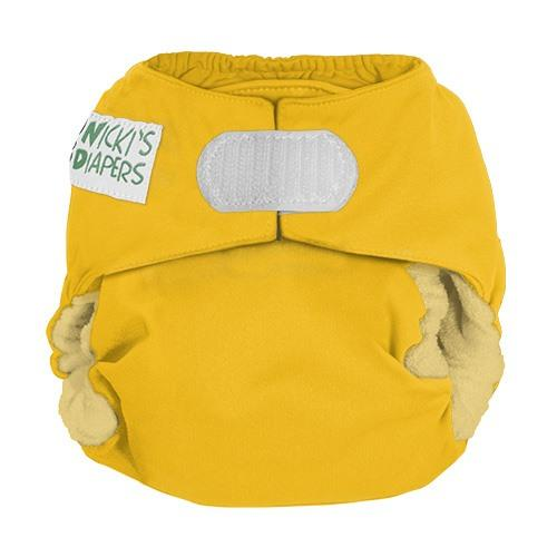 Nicki's Diapers One Size Hook and Loop Bamboo All in One - Lemon Drop