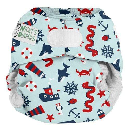 Nicki's Diapers One Size Hook and Loop Bamboo All in One - Nautical Nessie
