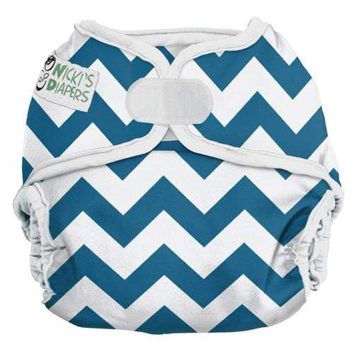 Nicki's Diapers One Size Hook and Loop Diaper Cover - Blue Razz Chevron