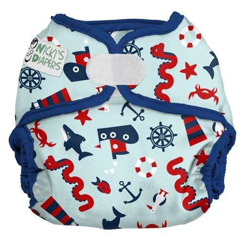Nicki's Diapers One Size Hook and Loop Diaper Cover - Nautical Nessie