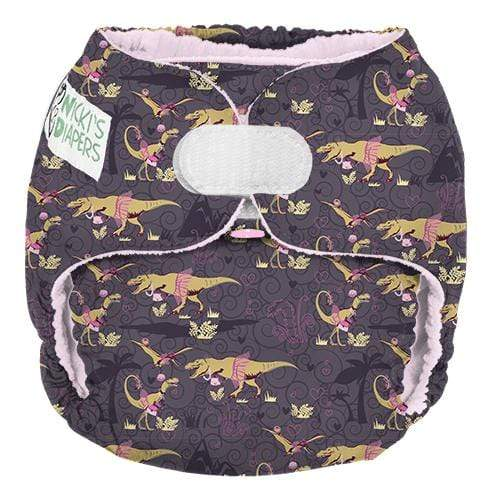Nicki's Diapers One Size Hook and Loop Pocket - Dinorella