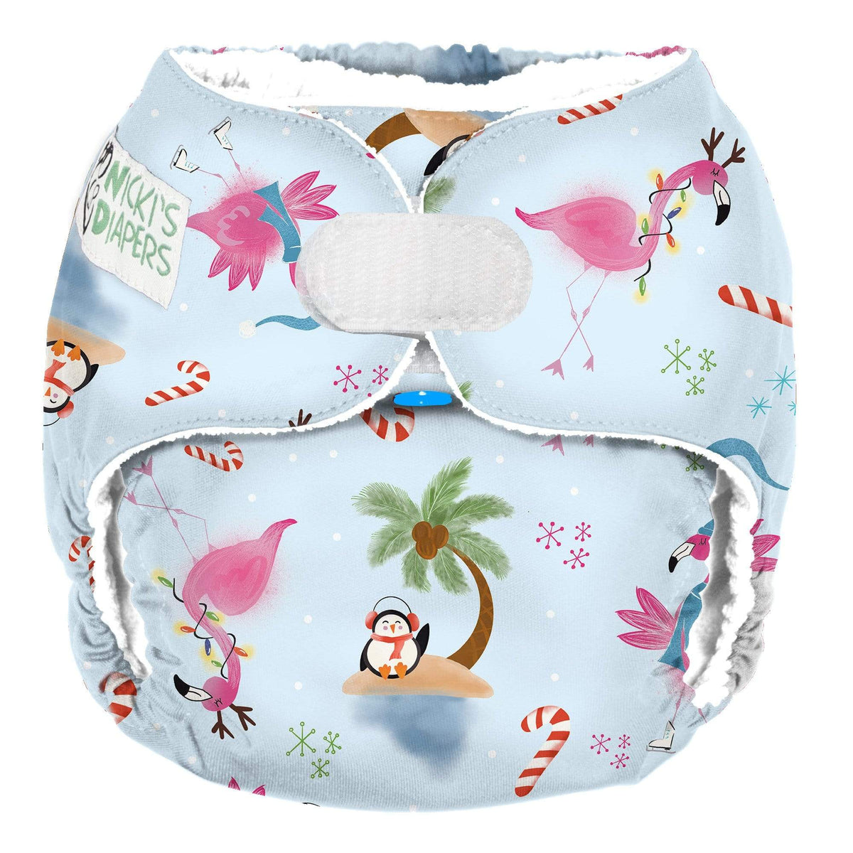 Nicki's Diapers One Size Hook & Loop Pocket - Jingle and Flamingle