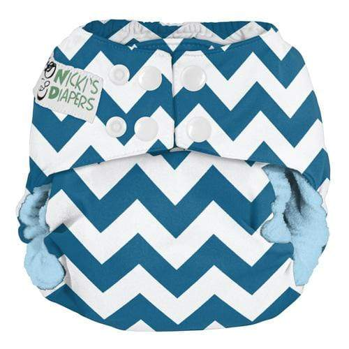 Nicki's Diapers One Size Snap Bamboo All in One - Blue Razz Chevron