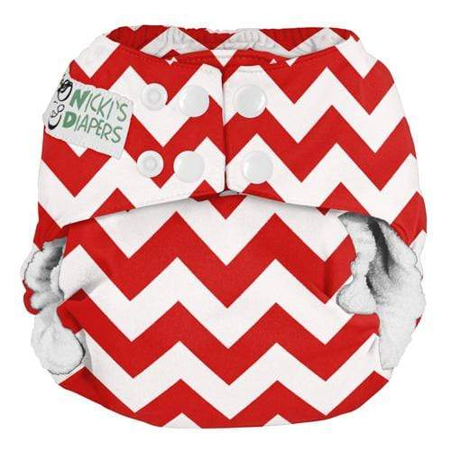 Nicki's Diapers One Size Snap Bamboo All in One - Candy Cane Chevron