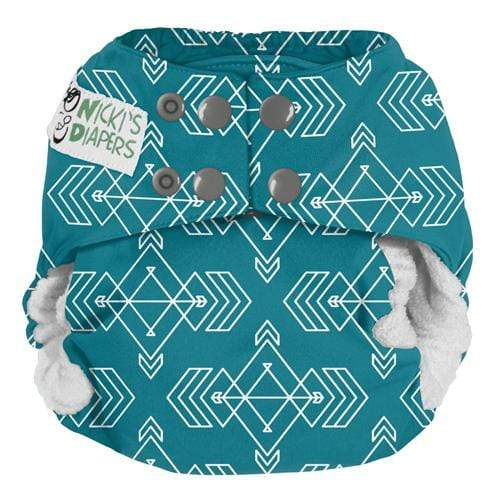 Nicki's Diapers One Size Snap Bamboo All in One - Compass Lagoon