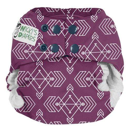 Nicki's Diapers One Size Snap Bamboo All in One - Compass Mulberry