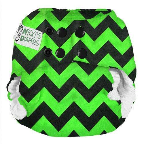 Nicki's Diapers One Size Snap Bamboo All in One - Get Slimed Chevron