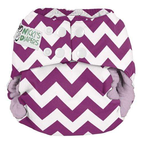 Nicki's Diapers One Size Snap Bamboo All in One - Grape Chevron